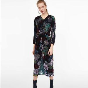 Zara draped velvet dress
